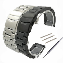 лучшая цена 22mm 24mm 26 mm Solid stainless steel watchband stainless steel bracelet watches Strap Accessories + Tool