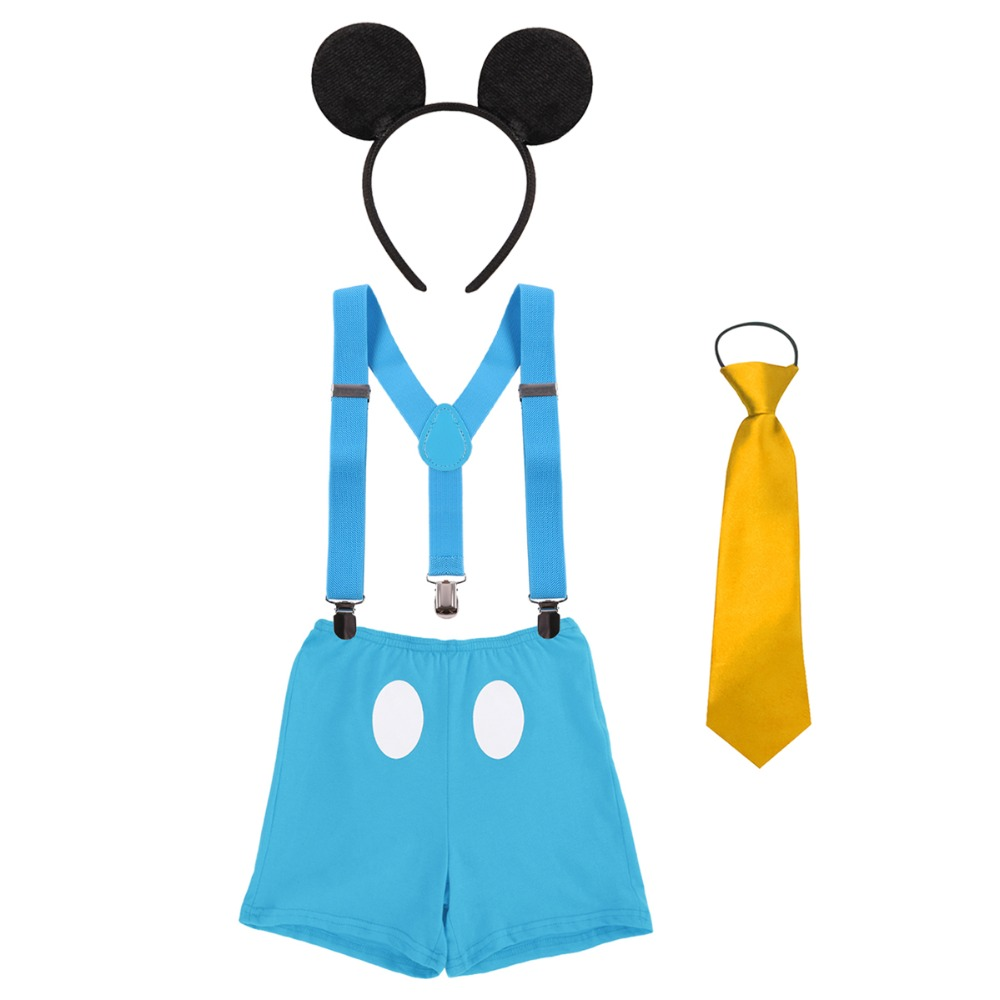 Boy 2nd Birthday Suspender Pants Mickey Mouse Costume Clothes Cake Smash Outfits