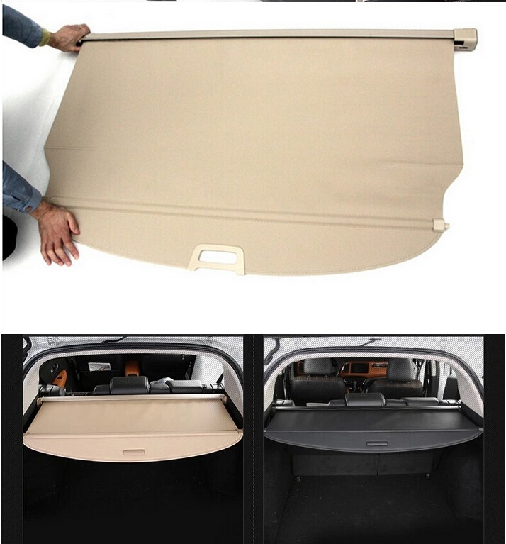 Aluminium alloy + Fabric Rear Trunk Security Shield Cargo Cover For Mitsubishi Outlander 2007 2008 2009 2010 2011 2012 car rear trunk security shield cargo cover for honda fit jazz 2014 2015 2016 2017 high qualit black beige auto accessories