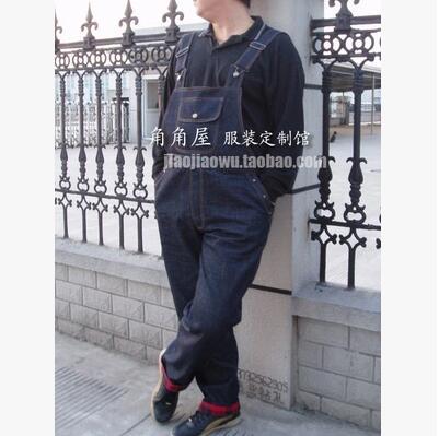 A Bretelles Augmenté Code L'engrais Pantalon Marée Denim Salopette Loisirs Ajouter Hommes 2016 Bleu De Coréens zO4tq