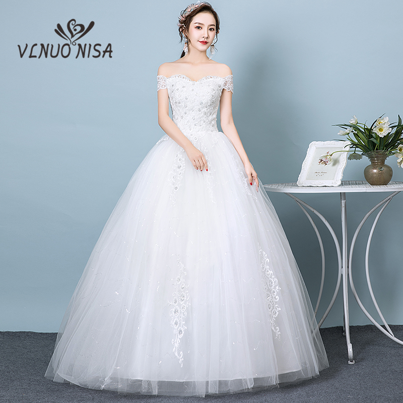 VLNUO NISA Vintage Sexy V Neck Lace Wedding Dress Off The