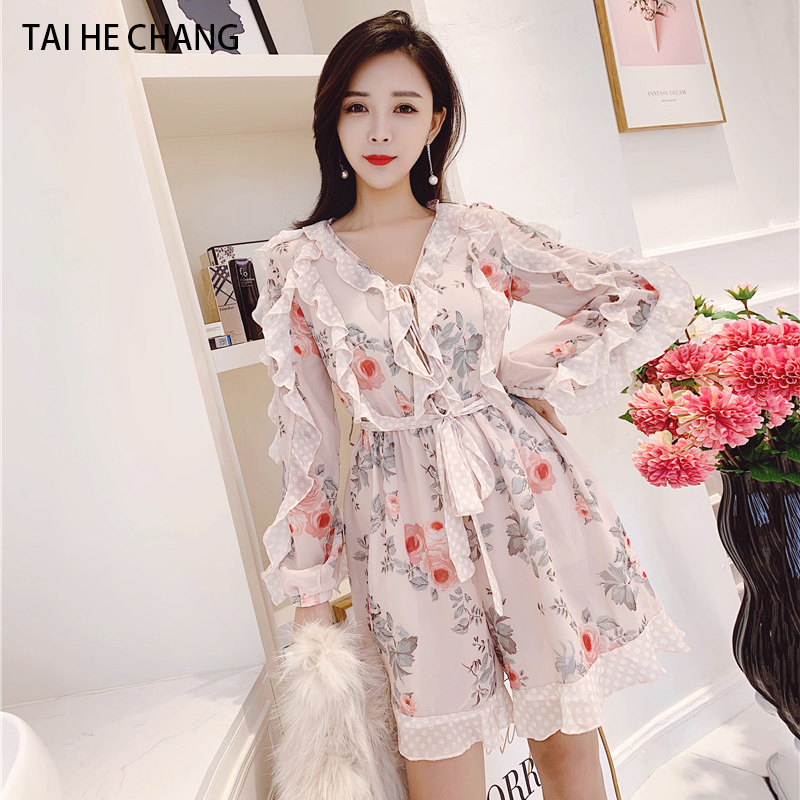 women Jumpsuits new fashion elegant vestidos bodycon slim beach runway spring summer chiffon print  ruffles playsuits short