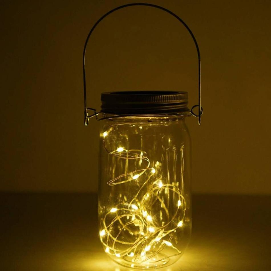 MUQGEW Solar Mason Jar Lid Insert LED Mason Jar Solar Light For Glass Mason Home Decor Warm white Toggle Switch