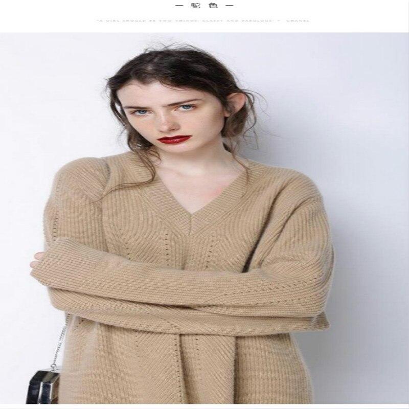 Осенне зимняя обувь Новый v образным вырезом кашемировый свитер женский свободные головы Одноцветный свитер Мода вязать джемпер