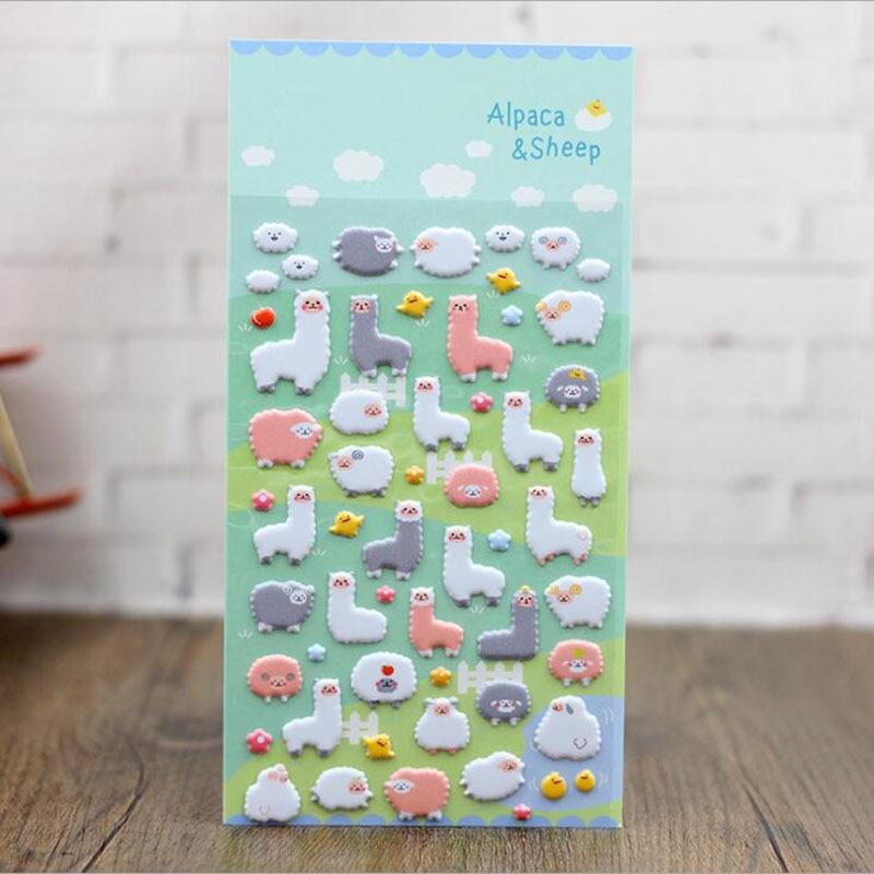 Cute Alpaca Perspective Bubble Stickers Diary Decorative Cartoon Phone Stickers, Bubble Stickers Cute Animal Kingdom 3pcs