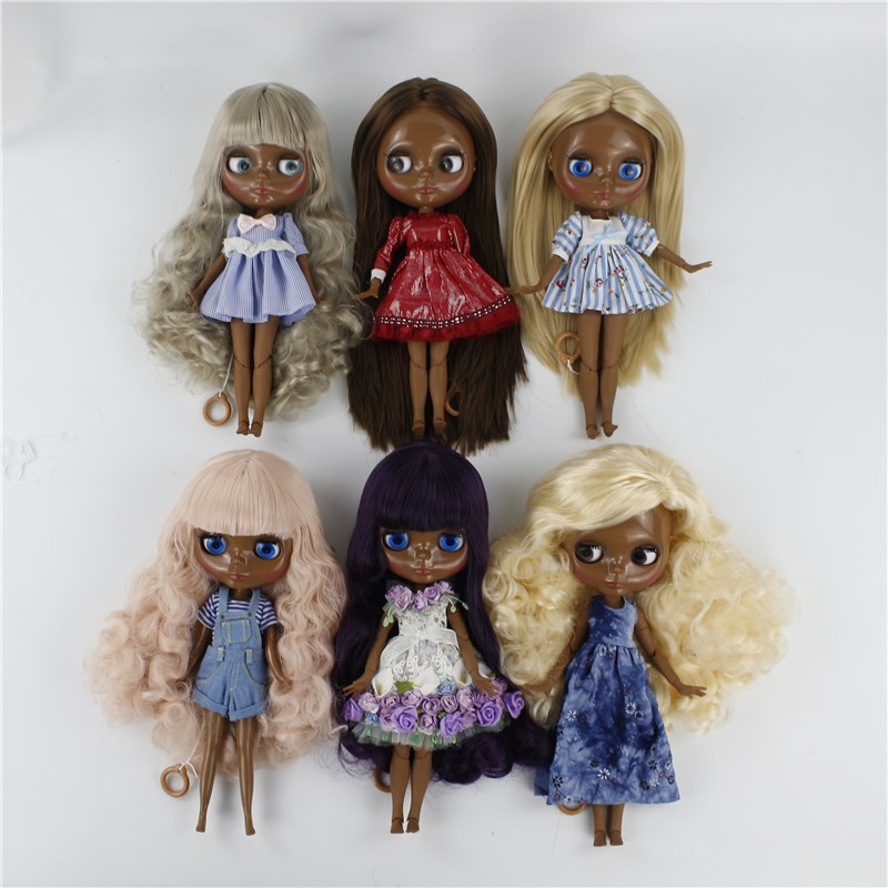 Blyth nude doll with joint body Straight/Wavy/Curly long hair dark black skin bjd blyth doll toys for kids 12 blyth nude doll k 180 black hair bjd blyth doll for sale