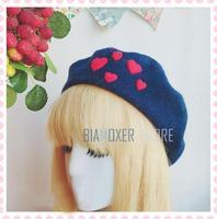 Biamoxer French Retro Women Beret Hat Handmade Navy Blue Mori Girl Lolita Beret Painter Caps Simple Sweet Birthday Gift Felt Cap