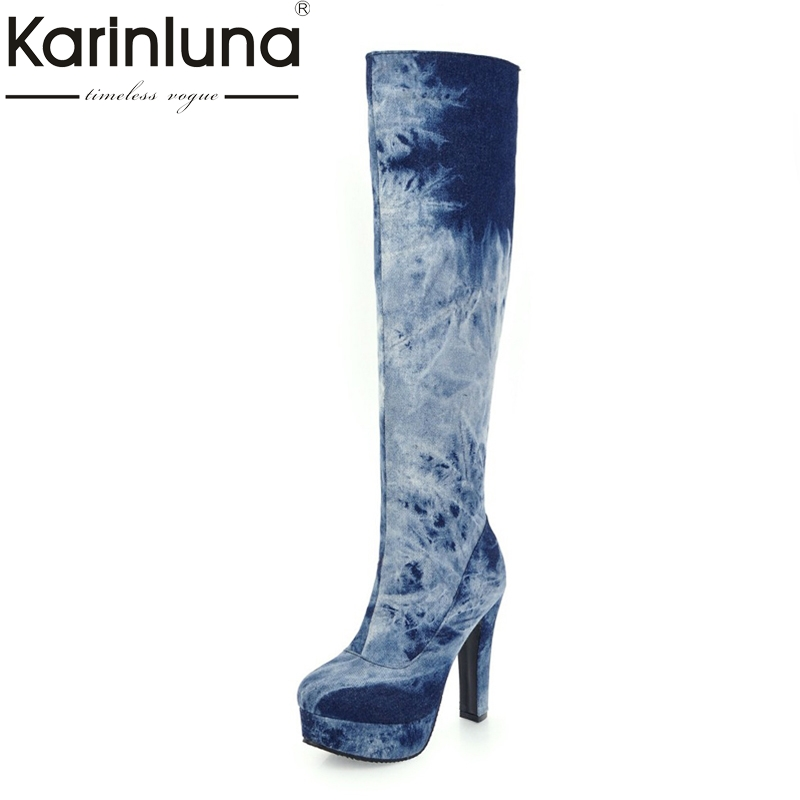KARINLUNA Big Size 33-50 Fashion Knee High Boots Sexy Super High Heels Platform Denim Warm Short Plush Winter Women Shoes Woman women leather short plush thick warm snow knee high boots fashion high heels lady knight boots new arrival big size boots