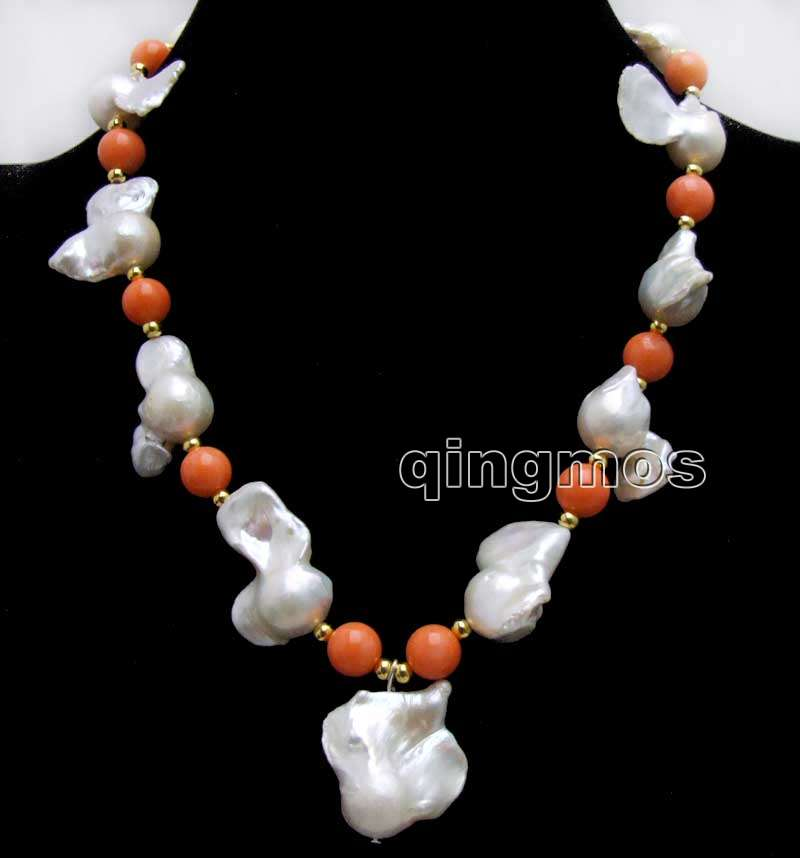 Big 20-35mm White Baroque Natural Nuclear pearl Pendant and 9-10mm Pink Coral 17'' Necklace-nec6367