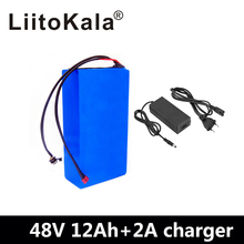 цена LiitoKala 48v 12ah lithium battery 48v 12ah electric bike battery with 54.6V 2A charger for 500W 750W 1000W motor duty free