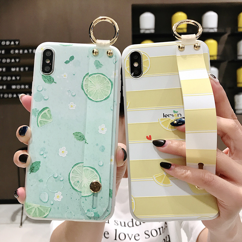 SoCouple Wrist Strap Phone Case For iphone Xs max Case For iphone X Xs XR 6 6S 7 8 plus Fruit Lemon Pattern Soft TPU Case Cover (2)