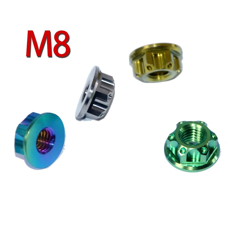8pcs Ti Axle Nut M8 Titanium Flange Nut Motorcycle Rear Axle Hexagon Titanium Screw Nuts Ti
