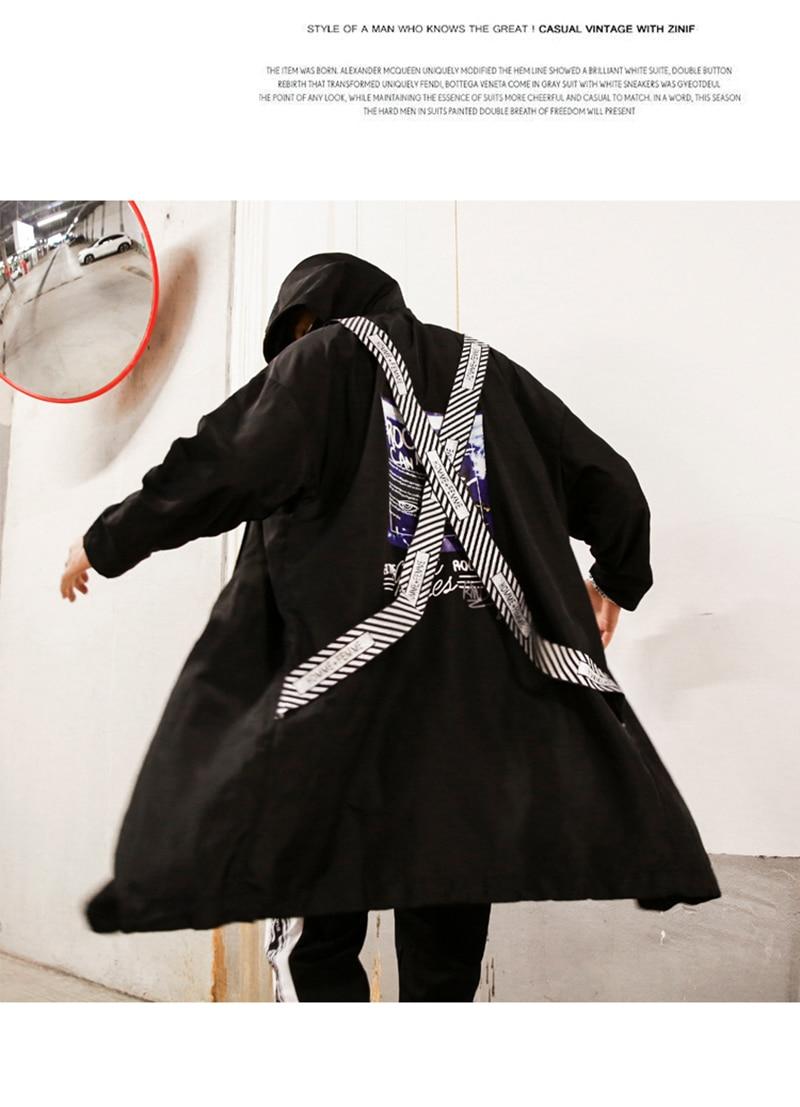 Long Men Trench Coat Casual Spring 2018 Slim Fit white Mens Hood Street South Korea Clothing (5)