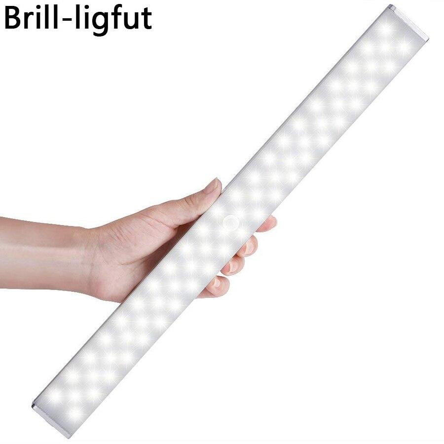 USB Recarregável Regulável 68 LED Sob A Luz Do Armário Armário Armário de Sensor de Movimento PIR Luz Noturna para Roupeiro Armário Da Cozinha