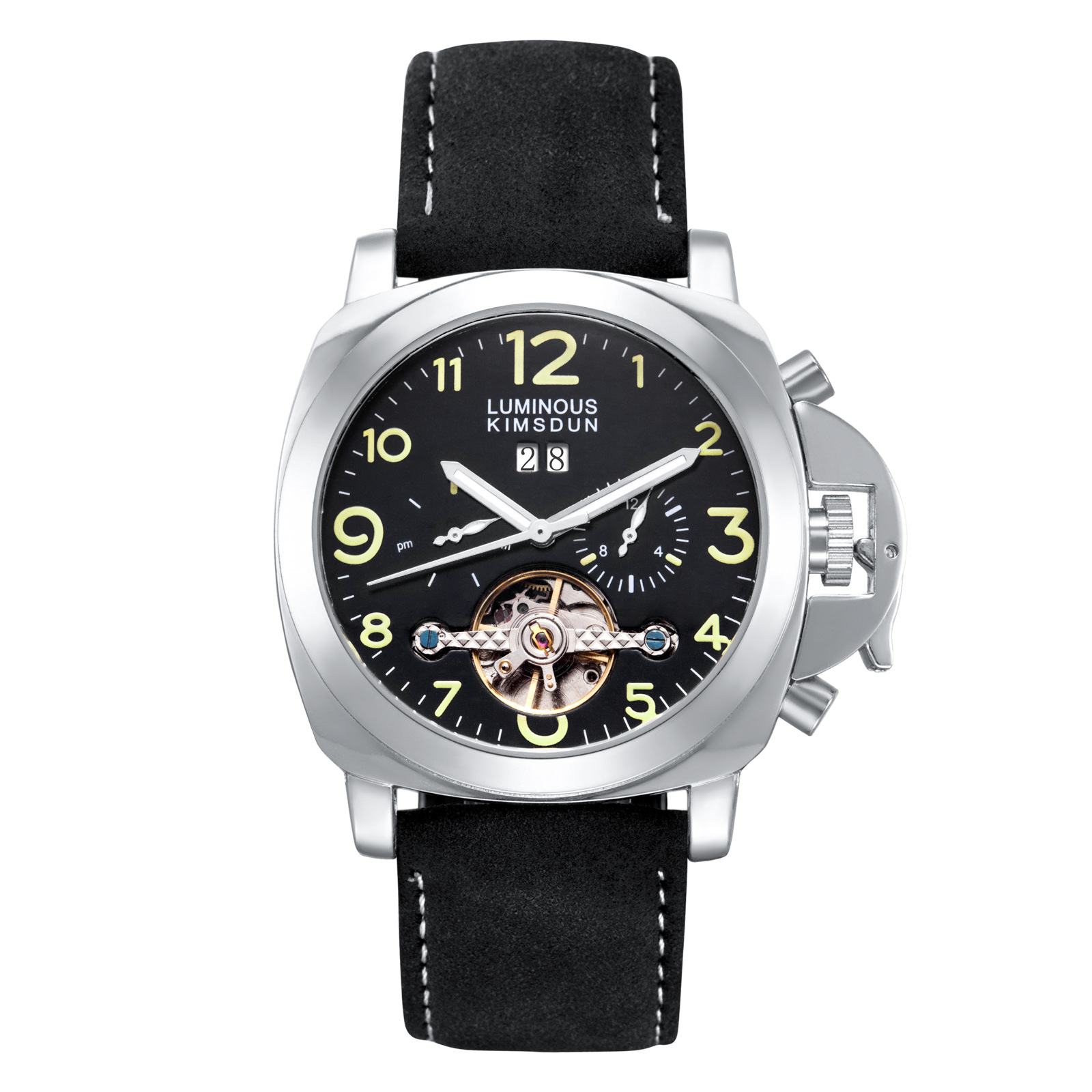 Automatic mechanical watch foreign trade belt Tuo Fei wheel waterproof night light men's watch 44mm micron Leader Luminous Hands
