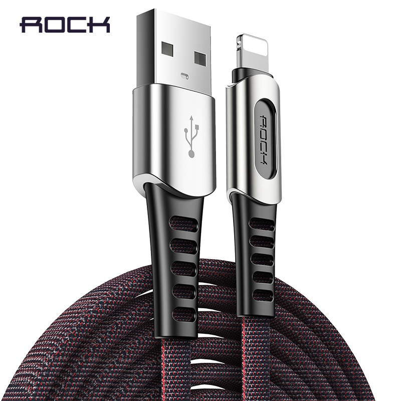 ROCK Luxury USB Cable for iPhone X XS XR MAX 8 7 6 6s plus Charger Charging Cable Zinc alloy USB Data Cable Phone Cord Lighting|Mobile Phone Cables|   - AliExpress