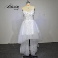 Vestido De Noiva 2016 New Unique Pearl Sweetheart White Tulle Short Front Long Back Wedding Dress