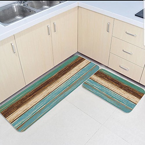 Us 30 14 50 Off 2 Piece Kitchen Mats And Rugs Set Country Rustic Wood Planks Board Home Deocr Non Skid Area Runner Doormats Carpet In Rug From Home
