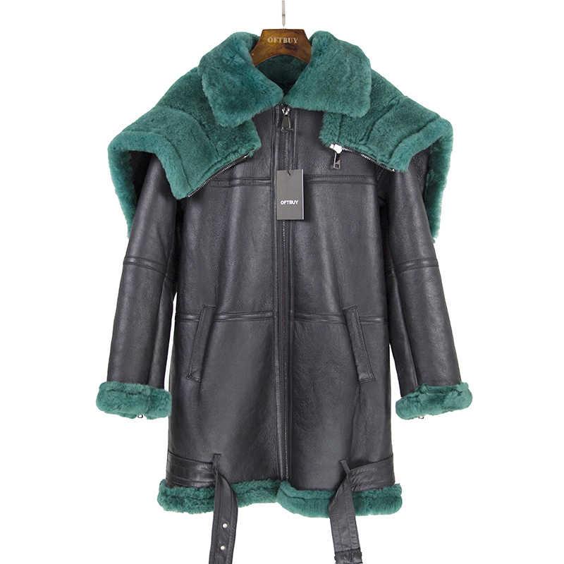 ... 2018 двусторонний меховая верхняя одежда зимняя куртка Для женщин  Длинная парка из натуральной кожи овец- ... 99380ada12f