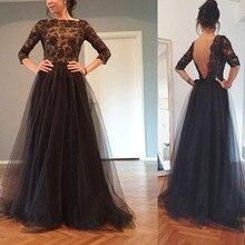 Zustell Zurück Schwarz Tüll Abendkleid Mit Ärmeln Lace Top A-Line Lange Formale Abendkleid Kleid Benutzerdefinierte Größe