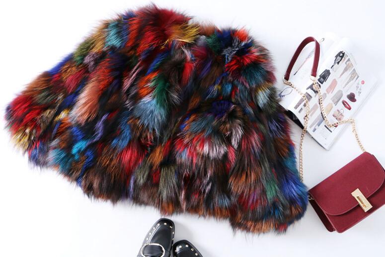 2018 на осень-зиму Новое поступление уличная натуральный Лисий мех пальто, сексуальный нескольких красочных натуральным мехом короткая курт...