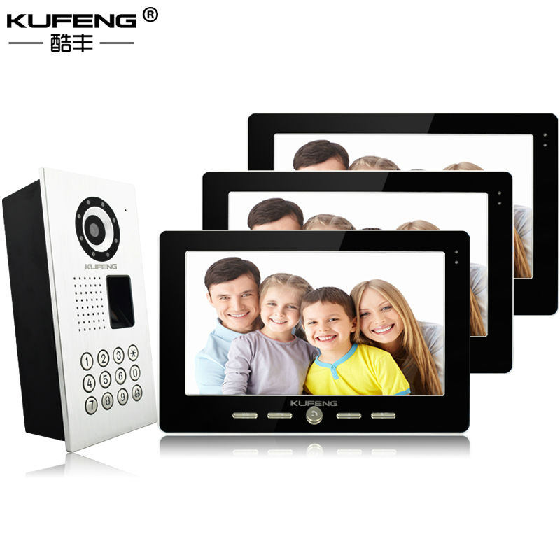New Video Fingerprint locked Doorphone 10 inch color screen Infrared Night-vision monitoring Intercom Doorbell 1V3 Free Shipping 2017 new wired video doorbell intercom doorphone for apartment security camera infrared night vision monitoring 1v4 freeshipping