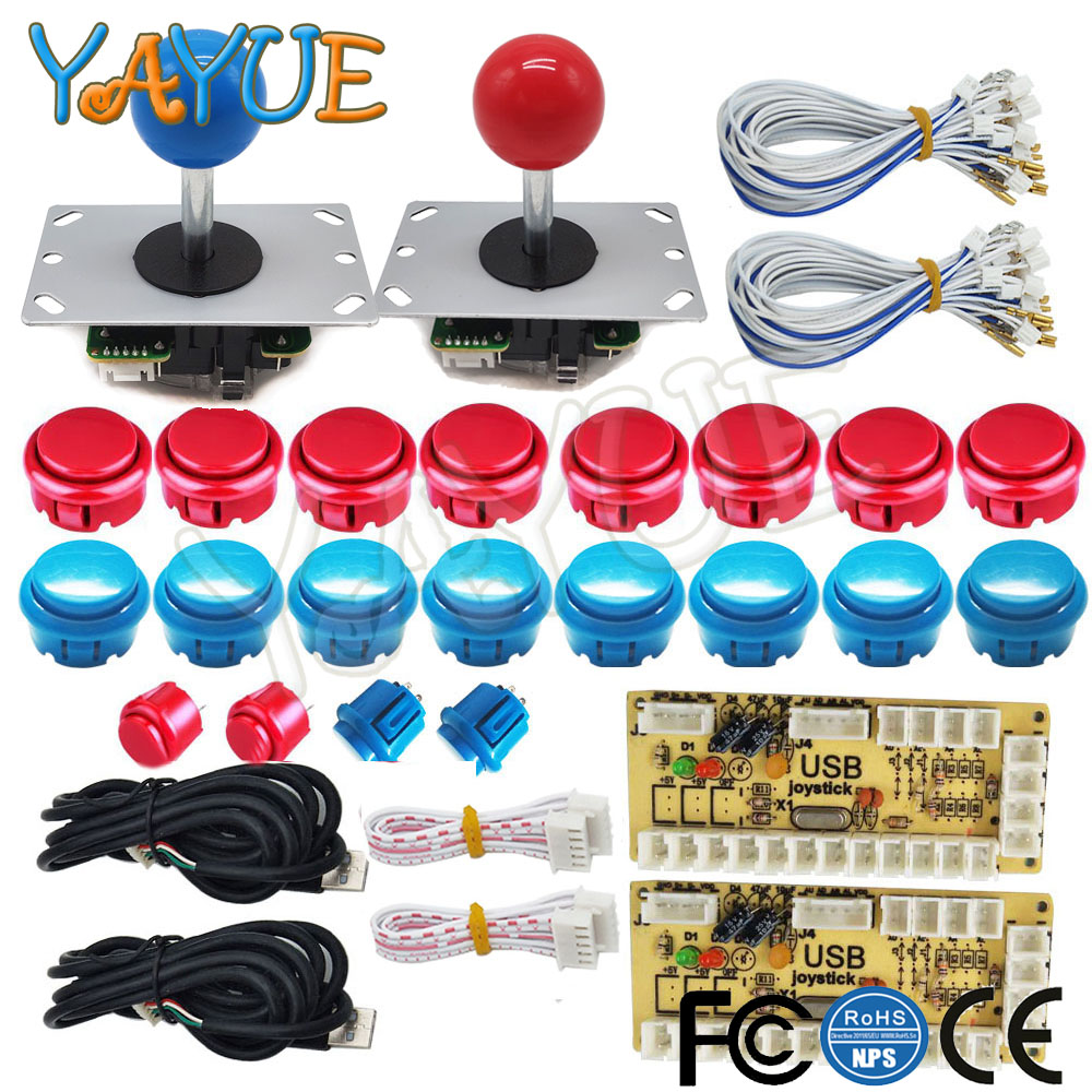US $16 58 21% OFF|2 Player Arcade Button Joystick DIY Controller Kit for  Windows and Raspberry Pi, 5 Pin 8 Way Joysticks and Push Button-in Coin