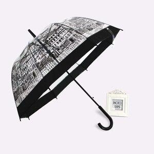 Image 2 - PALONY Transparent Lange Griff Regen Regenschirm Ultra Licht Frauen Kinder Sonnenschirm Regen Regenschirm Halbautomatische Weibliche Regenschirme