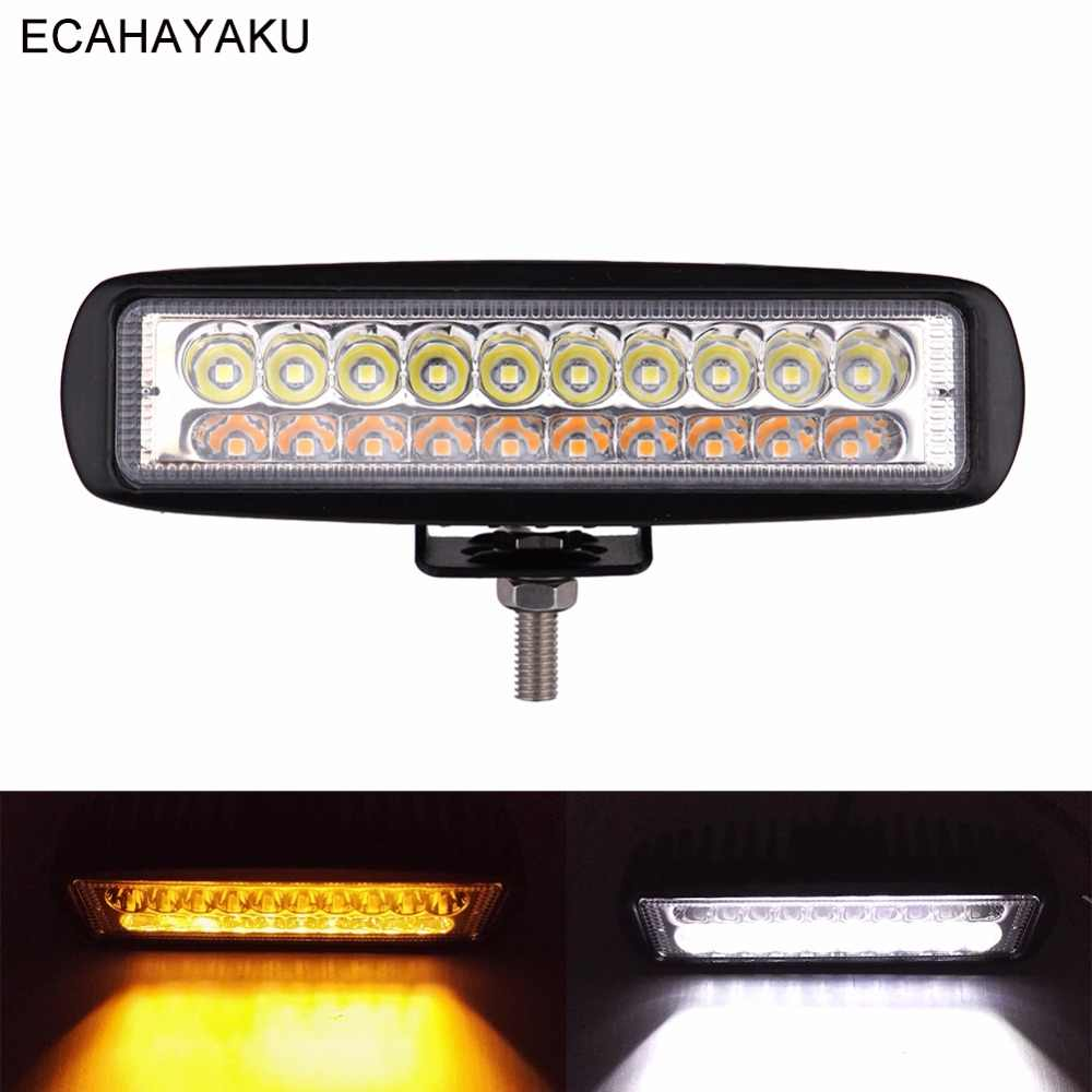 ECAHAYAKU 60W Slim 6inch Car Led Bar Light Amber/White Dual color Led Worklamp 10-32V DC for Off Road 4x4 SUV Truck Trailer Boat