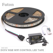 5m DC5V WiFi Controlled RGB LED Strip (Access Amazon Alexa / Google home)With DC Adapter SMD5050 Flexible Waterproof LED Light