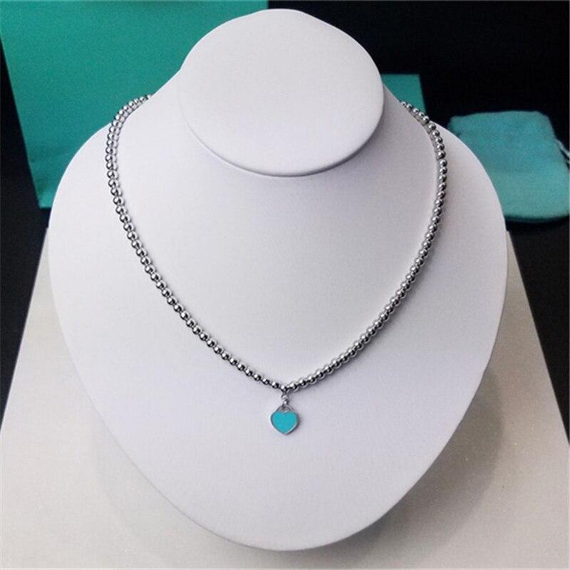 100% pur 925 argent Sterling amour coeur 4mm collier de perles femmes élégant doux argent 925 collier marque bijoux rouge/bleu émail