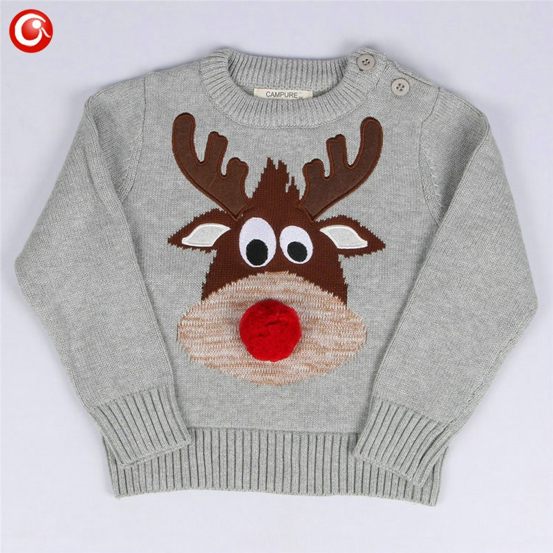 1-5y 2016 AutumnWinter Fashion Toddler Kids Girls Deer Sweater Long Sleeve Crochet Knitted Top For Christmas Kids Boys Cardigan (2)