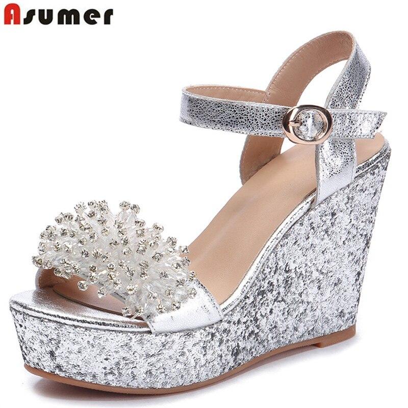 Asumer Platform Wedges Shoes Sandals Buckle Crystal Bling Genuine-Leather Woman Elegant