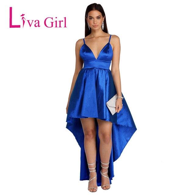 14281a7a80d LIVA GIRAL 2019 Sexy Mermaid Party Long Backless Dress Women High Low Hem  Irregular Maxi Dresses