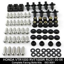 купить For Honda VTR1000 VTR1000R RC51 2000-2006 Motorcycle Complete Full Fairing Bolts Kit Fairing Clips Stainless Steel по цене 762.04 рублей