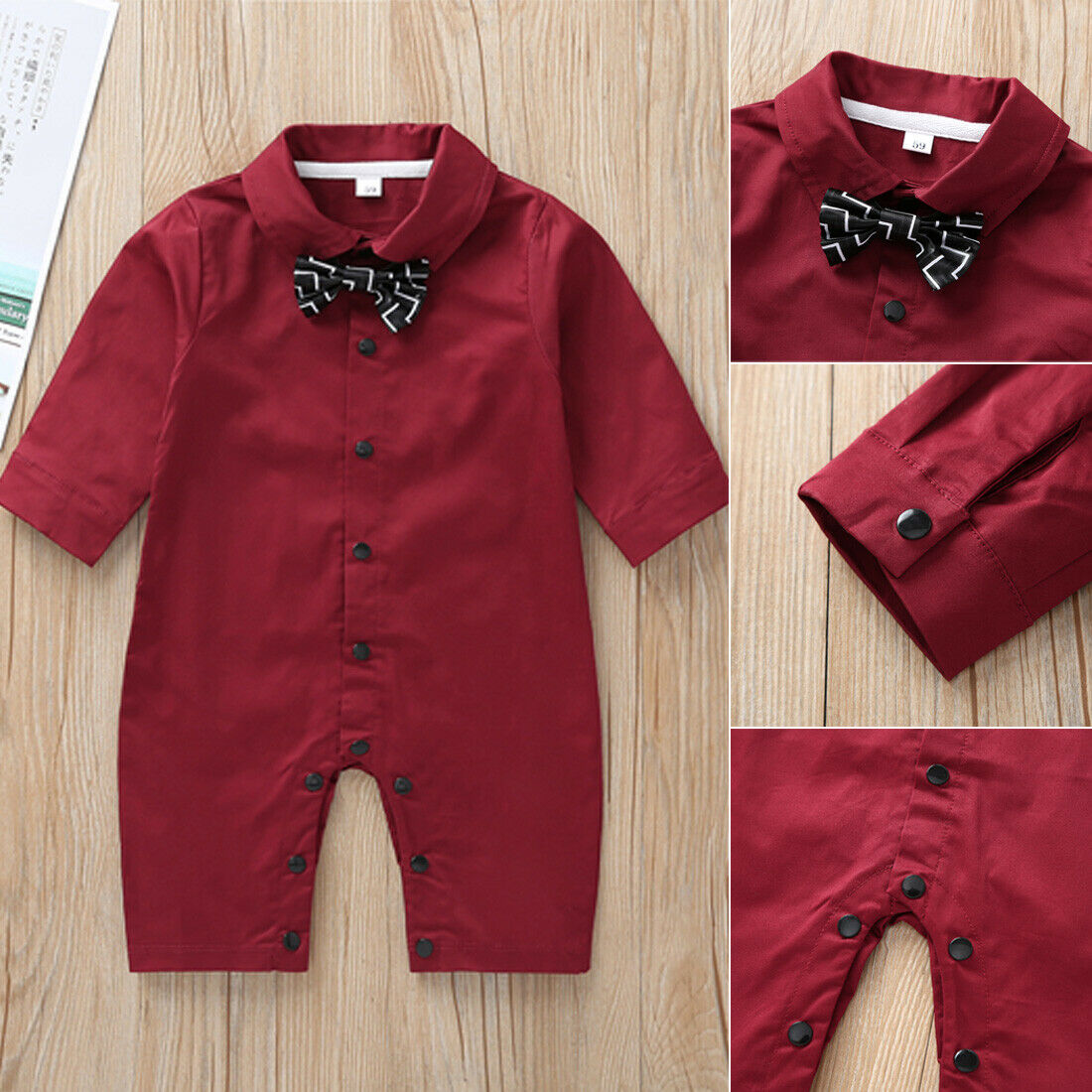 Efaster Infant Baby Boy Gentleman Romper Suit Necktie Tie Solid Jumpsuit Bodysuit Clothes 0-18 Months