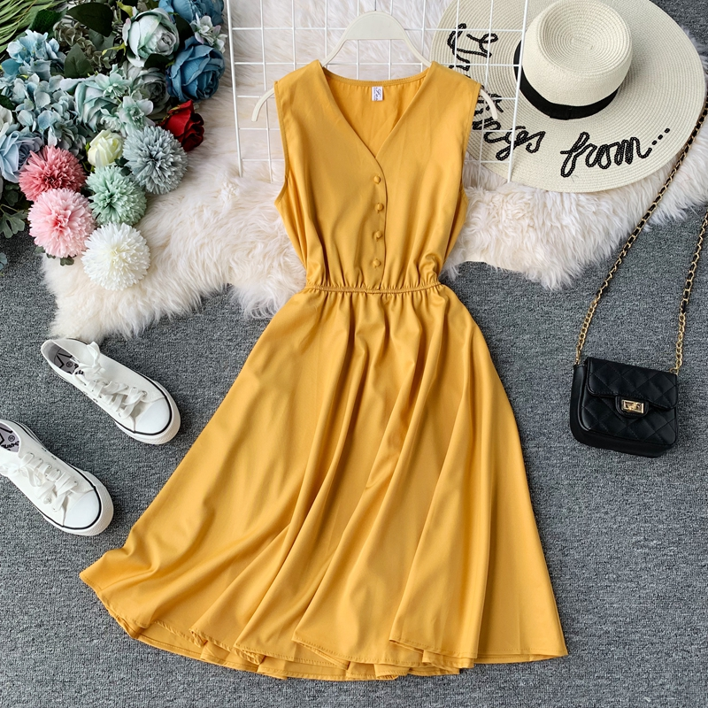 Women Summer Vintage Dress Sleeveless V-neck Sllim A-line Robe 2019 New Fashion Solid Casual Tank Dresses Korean Ladies Clothes 1