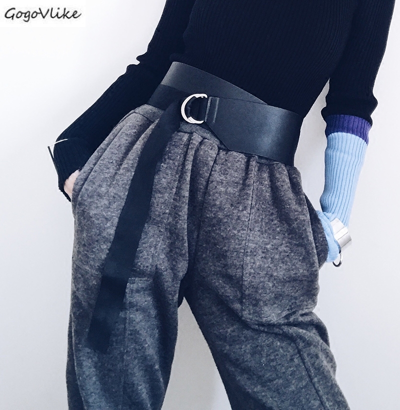 Faux Leather Cummerbund Women 2019 Slim Black Wide Waist Belt Women Shirt Dress Accessories Punk Bandage Belt SA075S50