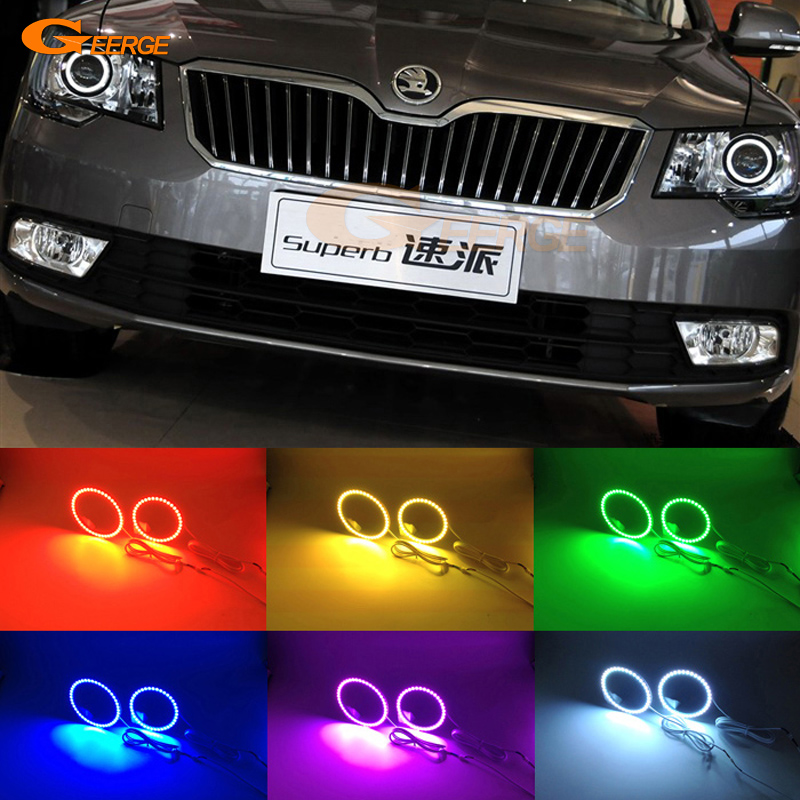 For skoda Superb 2008 2009 2010 2011 2012 2013 2014 Excellent Multi-Color Ultra bright RGB led Angel Eyes kit Halo Rings
