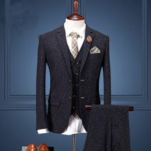 Men's Black Suit Set Male Fashion Married Suits 3 Piece Woolen Suit Jacket Commercial Wedding Dress For Man