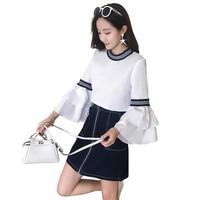 Women White Blouse 2017 Spring New Design Fashion Flare Sleeve Shirt Zipper Denim Skirt Suit Lady Clothing Set 2 Pcs Outfit S XL