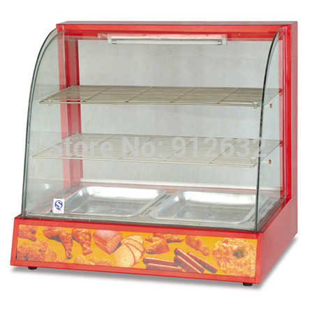 2 Pan Curved Glass Warming Showcase Hot Food Glass Display Cabinet Back Sliding Door