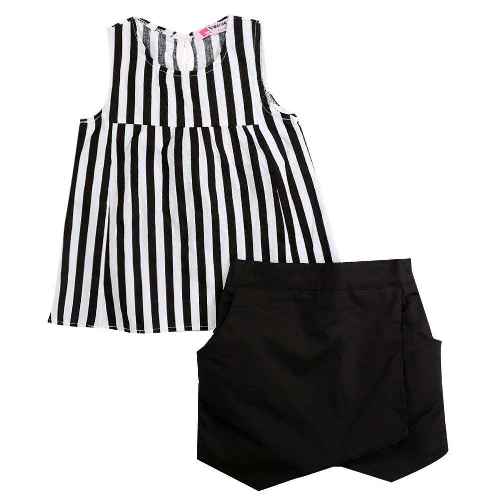2018 Boutique Kleinkind Kinder Mädchen Streifen Tops Shirt Shorts Sommer Outfits Set Kleidung Baumwolle Nette O-ansatz 2-7y