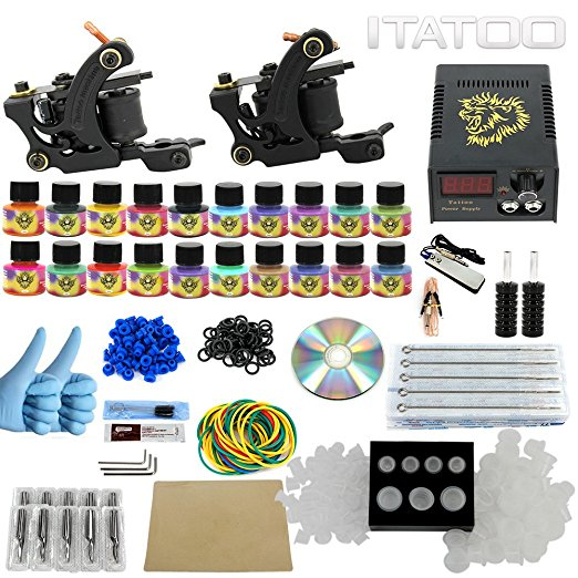 ITATOO 2pcs Tattoo Machines Liner Shader Tattoo Set Complete Tattoo Kit Tatuagem Power Supply 20pcs Tattoo Ink Set TK1000001 professional tattoo kits liner and shader machines immortal ink needles sets power supply