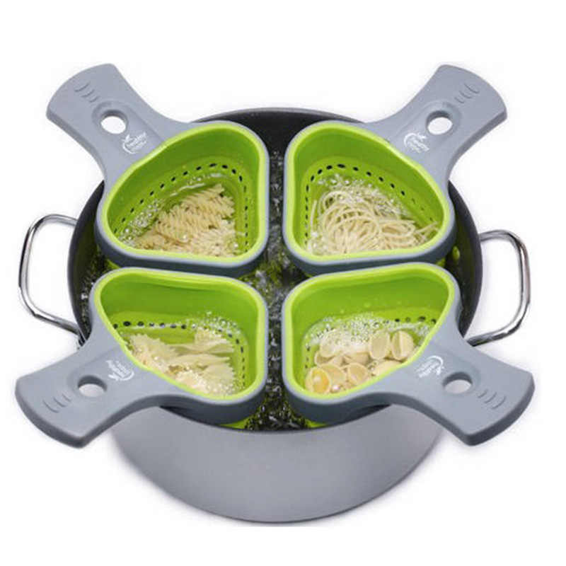Foldable Silicone Colander Strainers Kitchen Strainer Spaghetti Net Cooker Basket Colander Kitchen Backing Tools KC1695