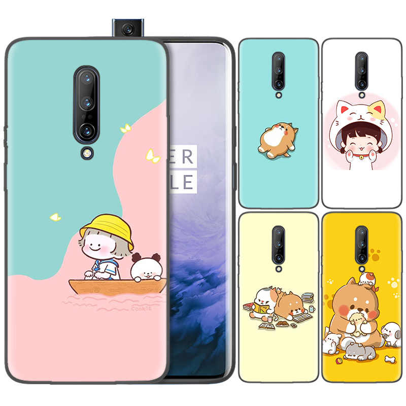 Business Pattern Phone Black Rubber Soft Silicone Case Bag Cover for 1+ Oneplus 6T Cases 6 7 Pro 5G Fundas Kawaii Molang Anime