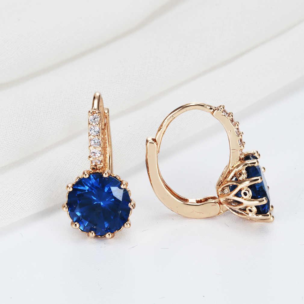 Cxwind złote kolczyki z niebieskim kryształem moda biżuteria ślubna kolorowe damskie 10KT CZ cyrkon dziecko Piercing Hoop kolczyki Bijoux