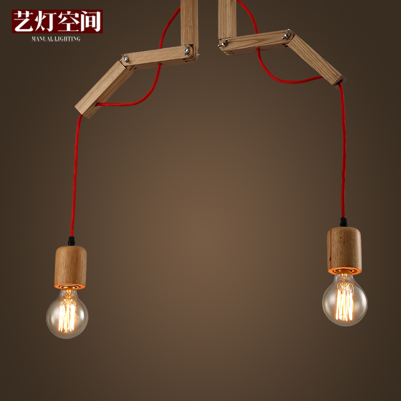 Loft Style American Country Art Creative Personality Dining Room Wooden Chandelier Sitting Room Lamp Bedroom Lamp Free Shipping american creative personality features simple and warm bedroom dining room chandelier retro country iron chandelier