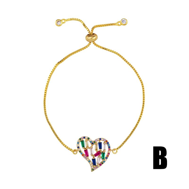 FLOLA Rainbow Cuff Bracelet for Women CZ Baguette Cheap Bangle Bracelet Yellow Gold Rainbow Jewelry Pulsera arcoiris 2019 brtb58 in Charm Bracelets from Jewelry Accessories