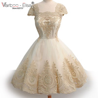 Robe Bal De Promo Vintage Embroidered Lace Tulle Elegant Prom Short Dresses High Waist Champagne Ball